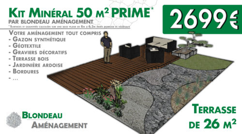 kit mineral 50m2 prime avec terrasse bois graviers decoratifs - amenagement exterieur blondeau amenagement montauban albias