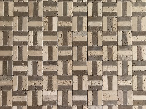 mosaïque travertin mix vieilli 5×5 - blondeau amenagement
