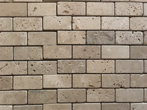 mosaïque travertin 3 teintes sans joints - blondeau amenagement